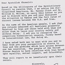 Letter from Jimmy Carter to Ayatollah Ruhollah Khomeini Regarding the Release of the Iranian Hostages