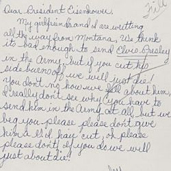 Letter to President Eisenhower Regarding Elvis Presley