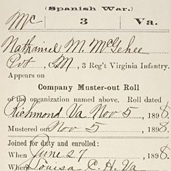 Carded Record from Company Muster Out Roll for Nathaniel McGehee