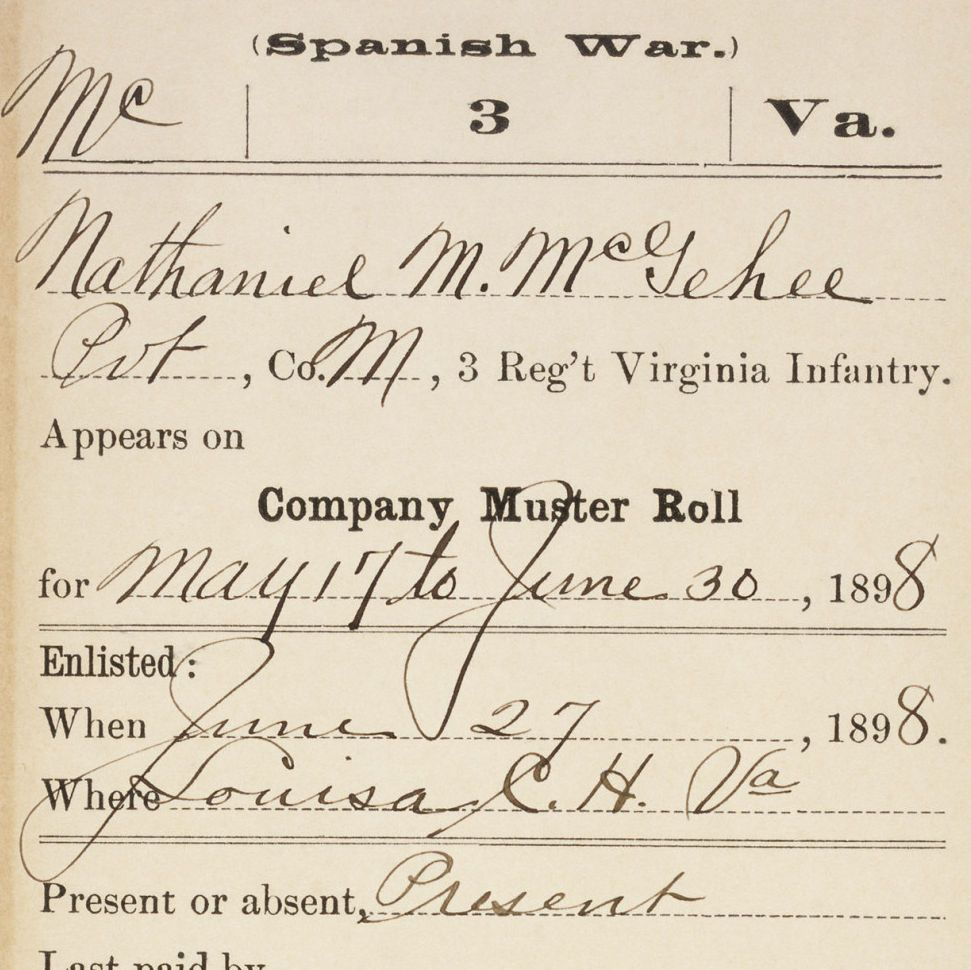 Carded Record From Company Muster Roll for Nathaniel McGehee