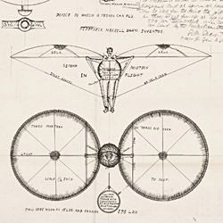 Drawing of a Device by Which a Person Can Fly