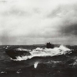 Photograph of German Submarine of the UB Class in Rough Seas