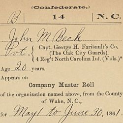 Carded Record from Company Muster Roll