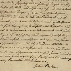Deposition of Captain John Parker Concerning the Battle at Lexington