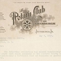 Letter from the Rotary Club of Pittsburgh, Pennsylvania, to John Morin