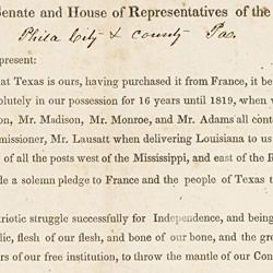 Petition from Citizens of Pennsylvania in Favor of the Annexation of Texas
