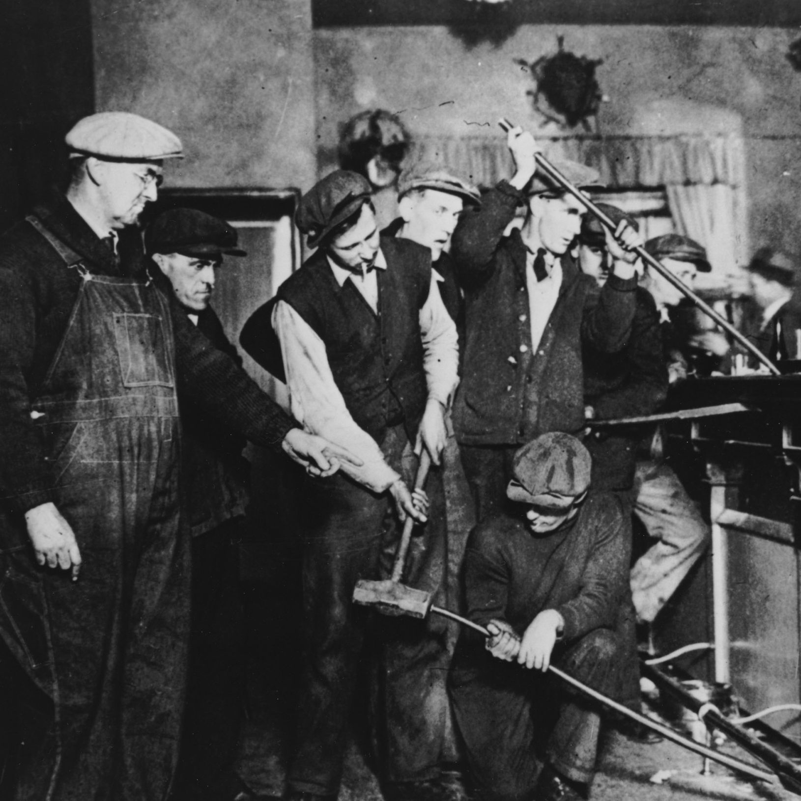 Photograph of Prohibition Agents Destroying a Bar