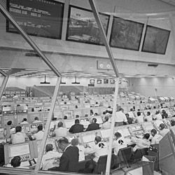 Photograph of Engineers Working in the Launch Control Center Preparing for the Launch of Apollo 11