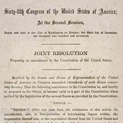 Joint Resolution Proposing the Eighteenth Amendment