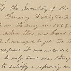 Letter from an Anonymous Former Union Soldier to the Secretary of the Treasury Regarding a Loaf of Bread