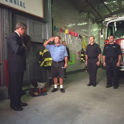 911: President George W. Bush Visits New York City Firefighters