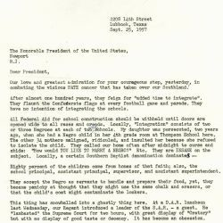 Letter to President Dwight D. Eisenhower from Evelyn Grimes Allen In Favor of School Integration