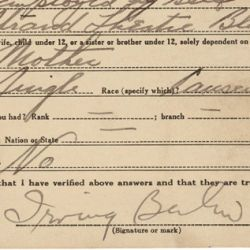 World War I Draft Registration Card for Irving Berlin