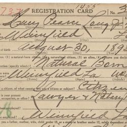 World War I Draft Registration Card for Huey Pearce Long, Jr.