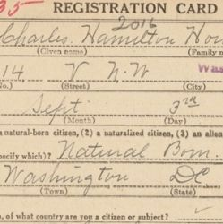 World War I Draft Registration Card for Charles Hamilton Houston