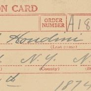World War I Draft Registration Card for Harry Handcuff Houdini