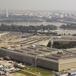 Aerial view of the Pentagon from the south parking lot