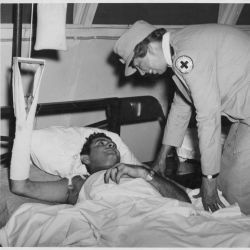 Eleanor Roosevelt Talks with a Wounded Soldier