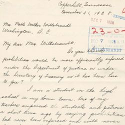 Letter from Gladys W. Center to Mrs. Mable Walker Willebrandt Asking Which Federal Department Is Best Suited to Enforce Prohibition