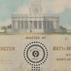 Sketch of the Washington National Monument by Robert Mills