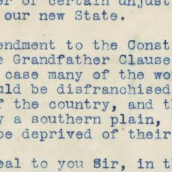 Letter about the Grandfather Clause in Oklahoma