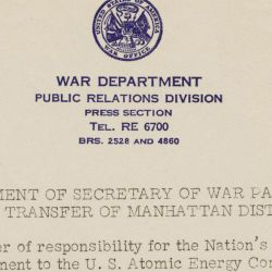 War Department Press Release Announcing the Transfer of the Atomic Energy Program to the U.S. Atomic Energy Commission