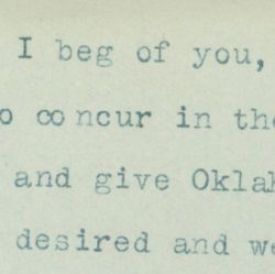 Letter from Edwin Meeker of the Oklahoma Territory to Representative Henry Burd Cassel (R-PA) Regarding the Senate