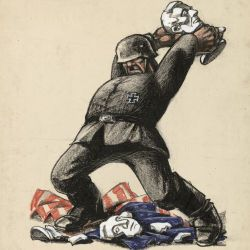 [German soldier standing on an American flag, smashing bust of George Washington and Abraham Lincoln]