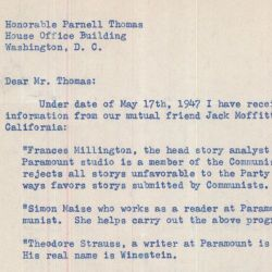 Letter Conveying Information Regarding Communism in Hollywood