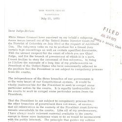 Letter from Richard Nixon Declining to Produce Certain Tape Recordings