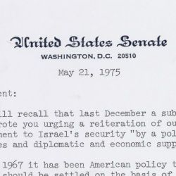 Letter from 75 Senators to President Gerald Ford in Support of Israel