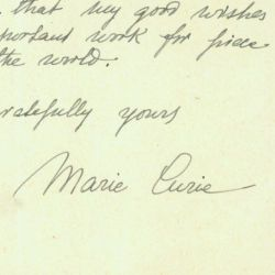 Letter from Marie Curie to President Herbert Hoover
