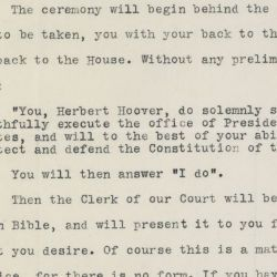 Letter from Chief Justice William Howard Taft to President Herbert Hoover Regarding the Oath of Office,