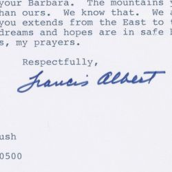 Letter from Frank Sinatra to George H. W. Bush