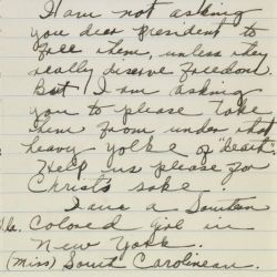 Letter from Miss South Carolinean [Carolinian] to President Franklin Roosevelt Regarding the Scottsboro Case