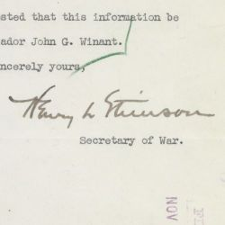 Letter from Secretary of War Henry L. Stimson to the Secretary of State Regarding John G. Winant, Jr.