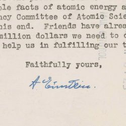 Letter from Albert Einstein and the Emergency Committee of Atomic Scientists