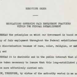 Executive Order 9980, Dated July 26, 1948, in which President Truman sets Regulations Governing Fair Employment Practices within the Federal Establishment