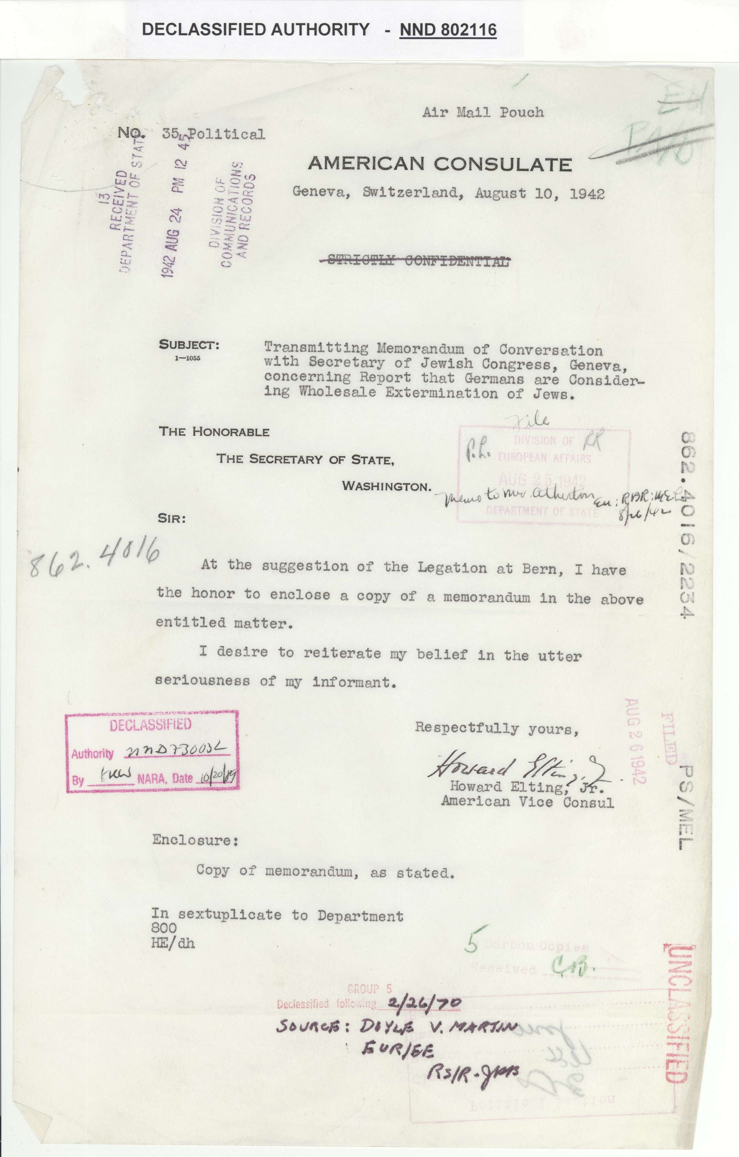 Correspondence from Howard Elting to Secretary of State related to the Holocaust