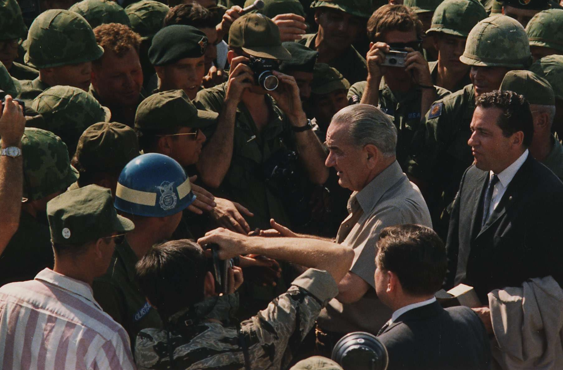President Johnson Shakes Troops