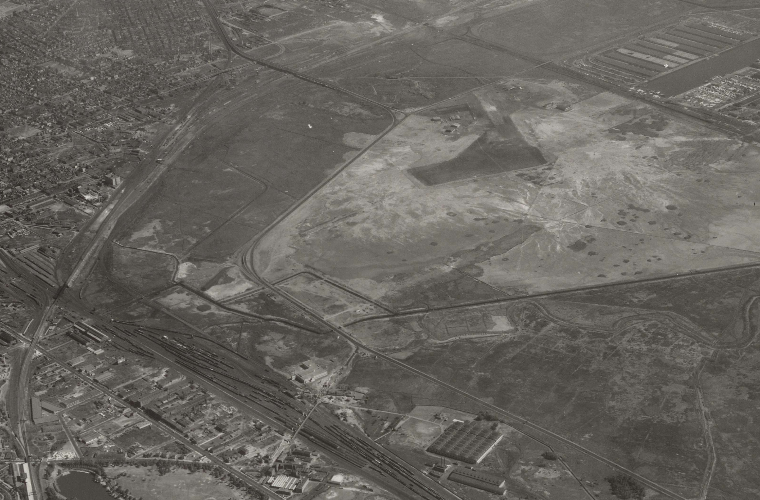 Airscape of Railroad Yards and Airport in Newark, New Jersey