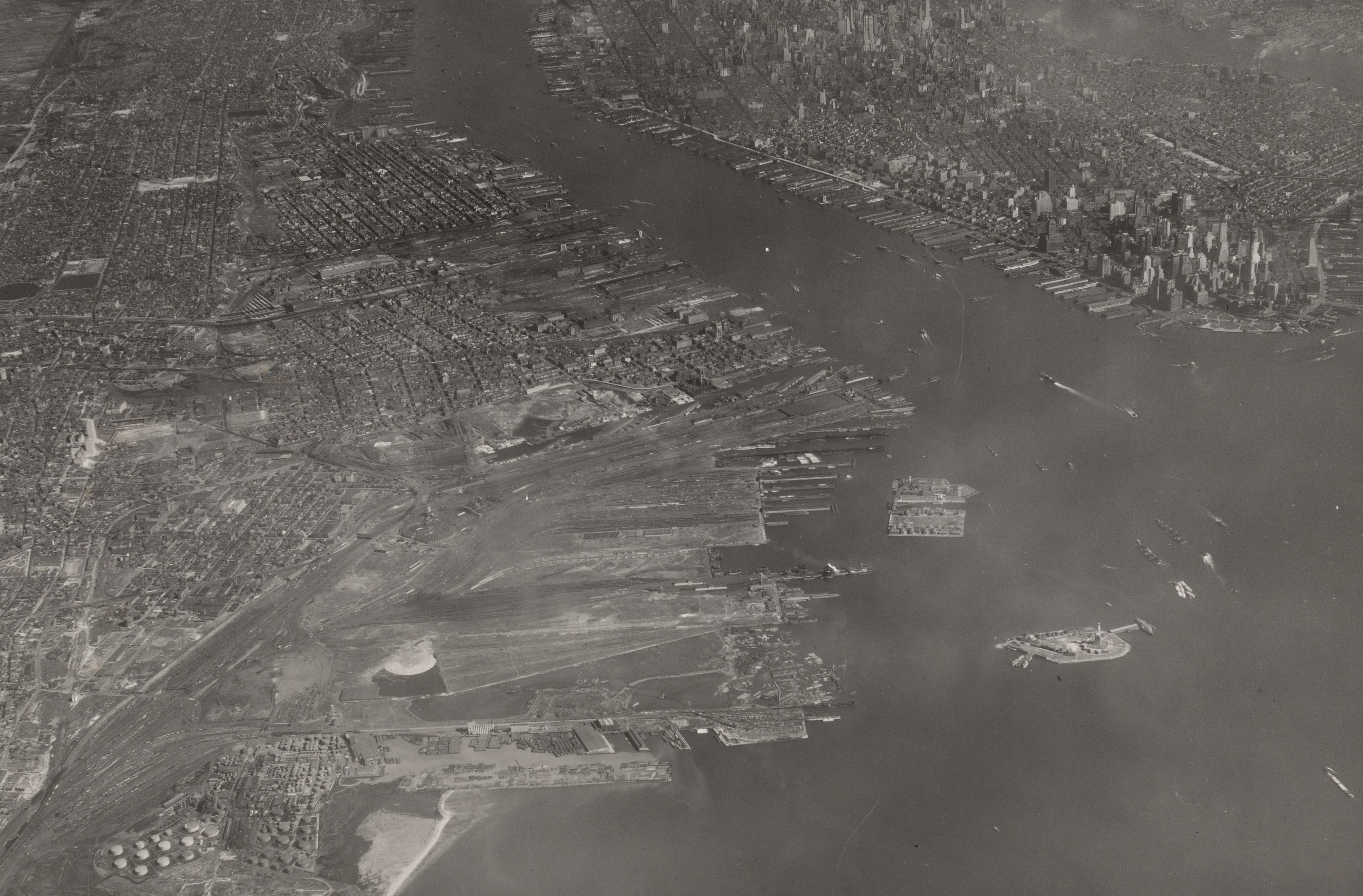 Airscape of Upper Bay of New York Harbor on Jersey City side