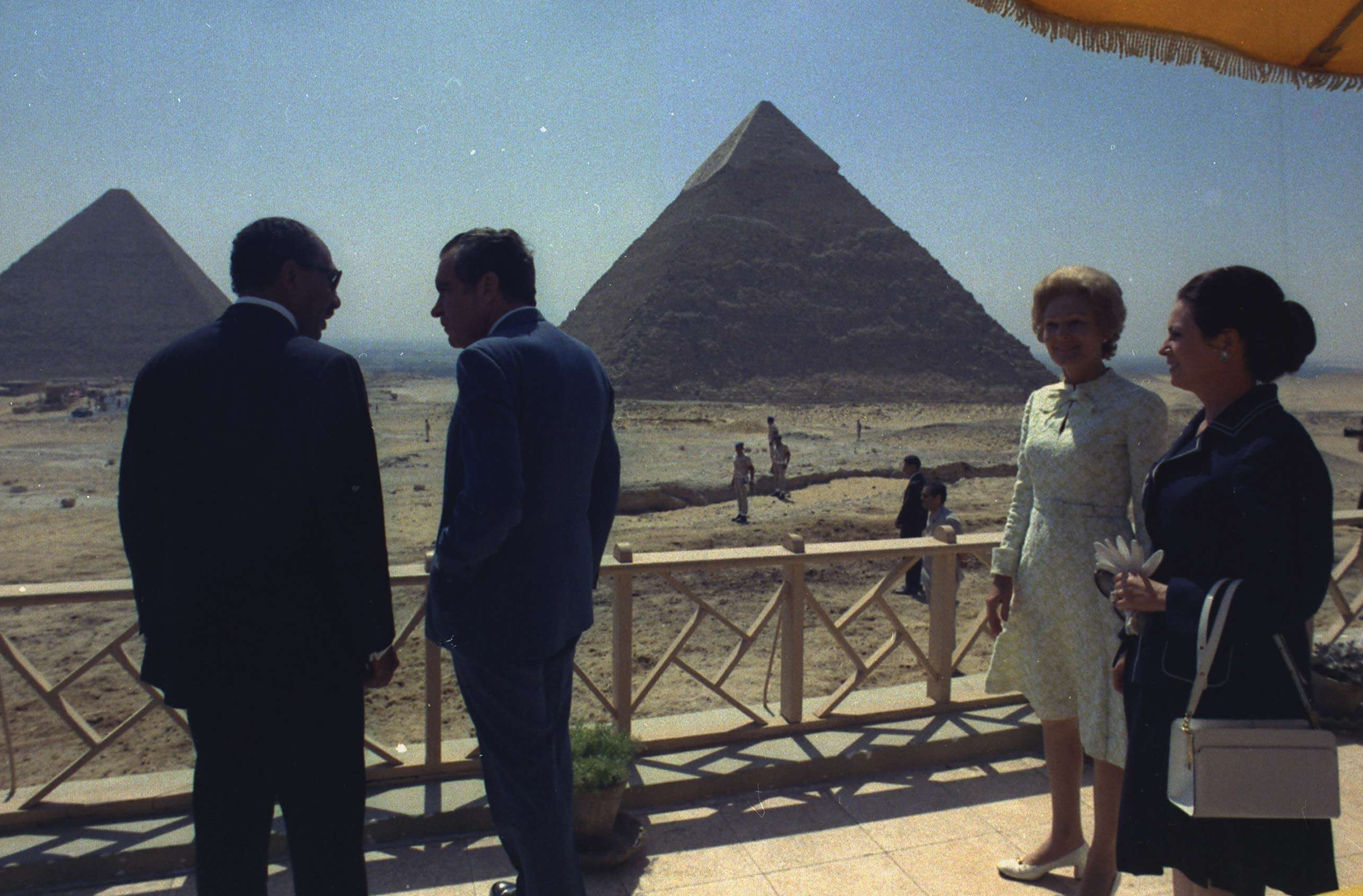 President and Mrs. Nixon at the Great Pyramids at Giza