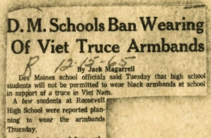 "Newspaper Article ""D.M. Schools Ban Wearing of Viet Truce Armbands"""