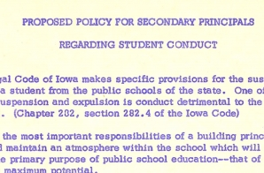 Proposed Policy for Student Conduct in Secondary Schools in the Des Moines School District
