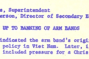 Memo about Events Leading up to Banning of Armbands