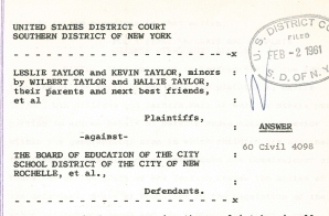 Answer from Taylor v. New Rochelle