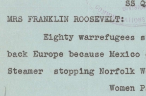 Telegram from Passengers on the Ship Quanza to Eleanor Roosevelt