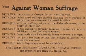 Georgia Association Opposed to Woman Suffrage Card