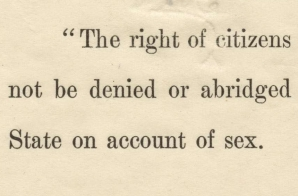 Senate Passage of an Amendment Extending the Right of Suffrage to Women
